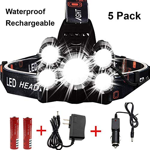 Led Headlamp 3 Tikka (Waterproof 13000 Lumen 5 Led Headlamp XML T6+4Q5 Head Lamp Powerful Led Headlight, 2 18650 Rechargeable Batteries, Car Charger, Wall Charger for Outdoor Fishing Hunting)