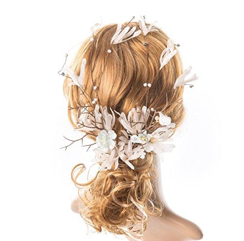 Bridal Hair Vine Wedding Headband Long Hair Vine Wedding Hair Accessories Hairpiece with Beaded Wreath Pearl