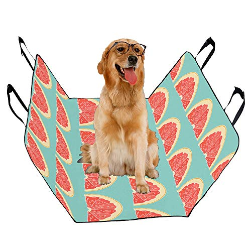 XINGCHENSS Fashion Oxford Pet Car Seat Red Pomelo Design Refreshing Summer Painting Fruit Round Waterproof Nonslip Canine Pet Dog Bed Hammock Convertible for Cars Trucks SUV