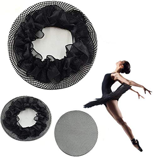 New8Beauty Hair Nets Black - Hair Accessories for Ballet Bun Cover Dance Skating Gymnastics Wedding Performance (3 Pack)