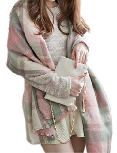 FENTI Women's Soft Plaid Check Scarf Cashmere Wool Feel for Office Daily Wear , Cherry Pink Mint Green , 73 x 26 inch