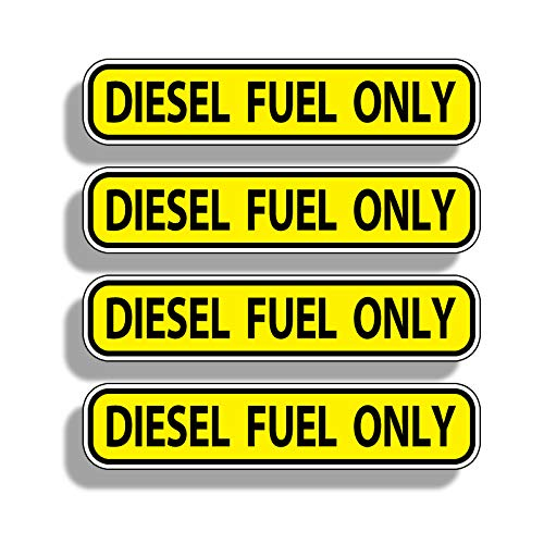 DIESEL FUEL ONLY Sticker Set of 4 Die Cut Vinyl Decal label for Gas Tank Door Container Jug Tractor Semi Rig