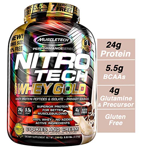 (MuscleTech NitroTech Whey Gold, 100% Whey Protein Powder, Whey Isolate and Whey Peptides, Cookies and Cream, 2,2 Pound)