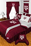 Texas A&M Aggies NCAA 8 Pc FULL Size Comforter Set and One Matching Window Valance/Drape Set (Comforter, 1 Flat Sheet, 1 Fitted Sheet, 2 Pillow Cases, 2 Shams, 1 Bedskirt, 1 Matching Window Valance/Drape Set) SAVE BIG ON BUNDLING!