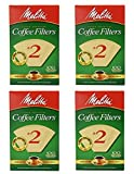 Melitta Cone Coffee Filter #2 100 Count- Natural Brown (Pack Of 4)