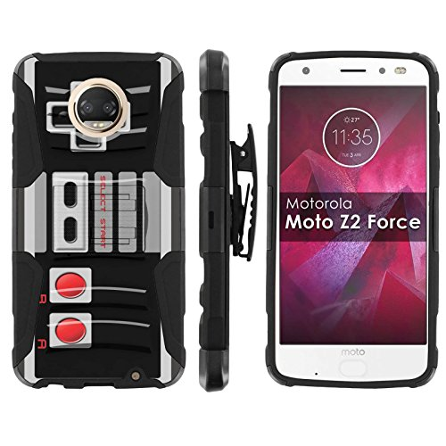 [Mobiflare] Armor Case for Moto Z Force/Z Play [2nd Generation] [Black/Black] Blitz Armor Phone Case with Holster [Moto Z2 Force] [Moto Z2 Play]- [NES Video Game Controller] Review
