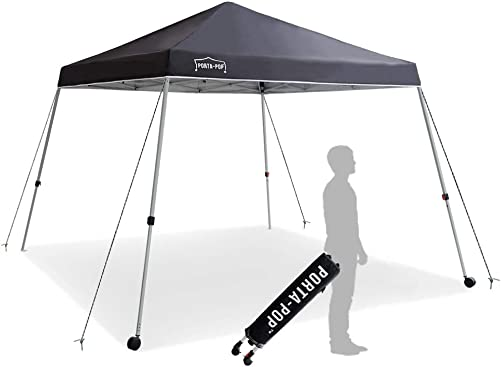 PORTA-POP One Button Easy Pop Up 10×10 ft Portable Folding Canopy Slant Leg