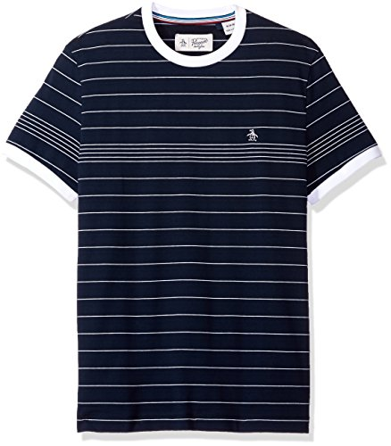 Original Penguin Men's Short Sleeve Slim Fit Engineered Fine Stripe Tee