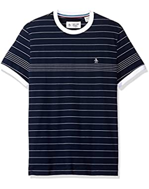 Men's Short Sleeve Slim Fit Engineered Fine Stripe Tee