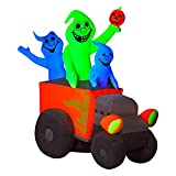 ghi Halloween Inflatable 6' Neon Hot Rod Ghosts w/LED Blacklight Spotlight By Gemmy