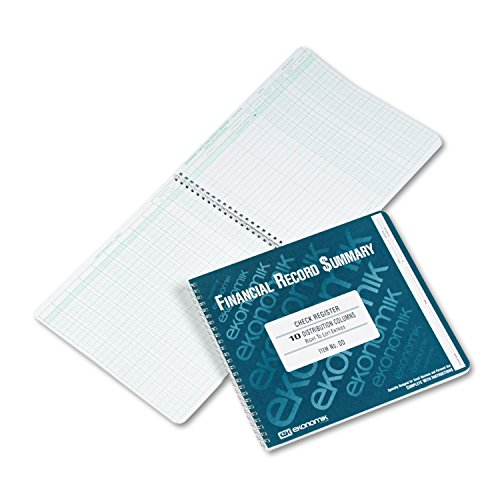 Ekonomik DD Wirebound Form Dd Check Register W 10 Left Distribution Columns - 8-3 4X10