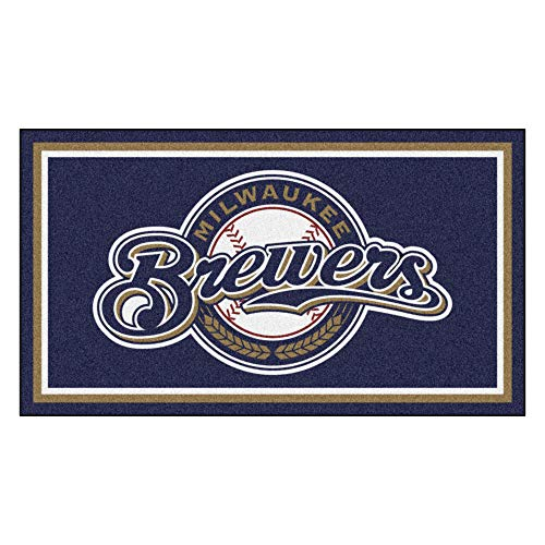 (FANMATS MLB Milwaukee Brewers 3 Ft. x 5 Ft. Area RUG3 Ft. x 5 Ft. Area Rug, Navy, 3' x 5' )