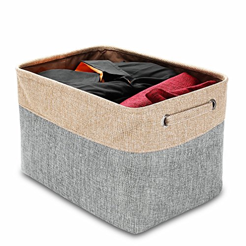 HomePondit Foldable Storage Basket Organizing Bin Box - Collapsible & Convenient Storage Solution for Office, Bedroom, Closet, Toys, Laundry (15.7x11.9x8.3)