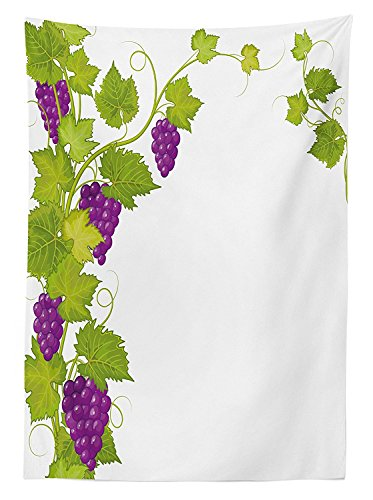 Grapes Home Decor Tablecloth Latin Brochure Label Italian Town Province Vintage Menu Sign Artwork Dining Room Kitchen Rectangular Table Cover Violet Green