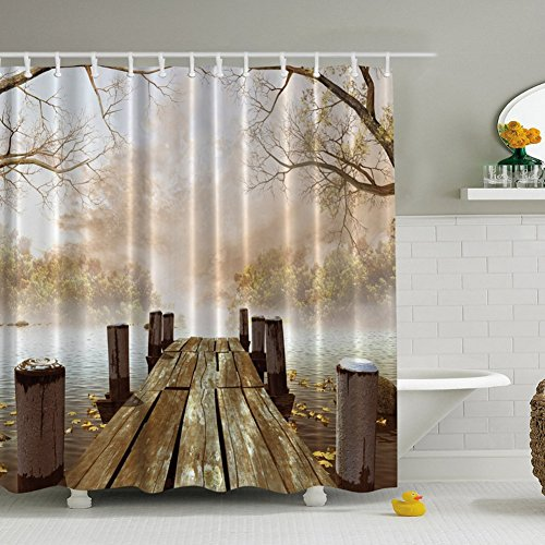 GDAE10 3DArt Paintings Shower Curtain, Premium Polyester Home Curtains, Water-resistant Bathroom Decorations(including 12 hooks) (Mystic forest trees)