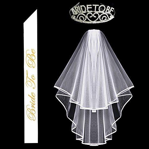 GlitterRhinestone Bride to Be Tiara & White Double Ribbon Edge Center Cascade Bridal Wedding Veil with Comb & Bride To Be Satin Sash - Edge Tiara