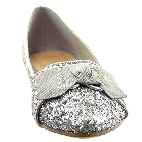 Sopily - Scarpe da Moda ballerina alla caviglia donna papillon paillette Tacco a blocco 1 CM - Argento