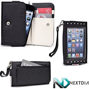 Smartphone Wallet for Blackberry Q10 with Exposed Screen to View Alerts |Black and Light Earl Gray + NextDia Velcro Strap