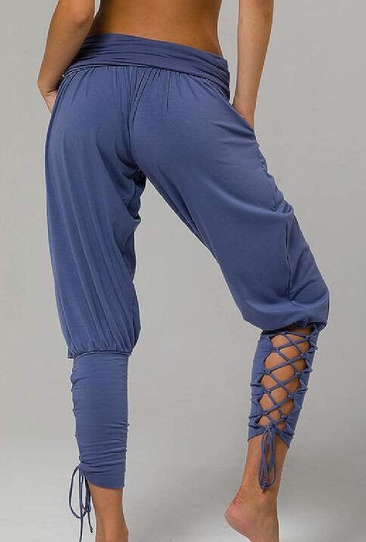 Hajotrawa Women Lace Up Yoga Pure Colour Pleated Jogger High Waist Pants Trousers