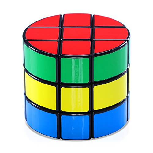 Speed Cube, Jakpak Cylindrical Rubik's Cube Speed Puzzle Cube 3x3 Smooth Adjustable Tensioning Magic Cube Twisty Puzzle Game for Kids Brain Intellectual Development Speedcubers Puzzles Toys, Black