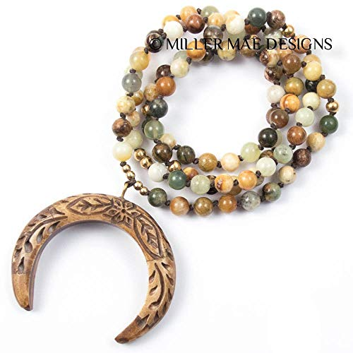 - Carved Double Horn Necklace - 35 Inches Long Handmade Flower Jade Necklace by Miller Mae Designs