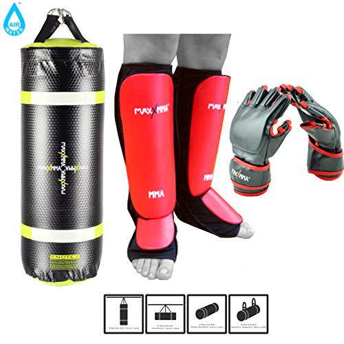 MaxxMMA Training & Fitness Heavy Bag Kit with Shin Guards and Mixed Martial Arts Grappling Gloves!