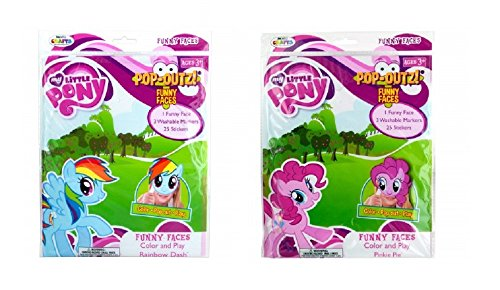 My Little Pony Set of 2 Pop-Outz Color and Play Funny Faces Mask - Pinky Pie and Rainbow Dash -