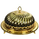10 Strawberry Street Stainless Steel Serving Platter/Cloche, 21'' Dome + 23'' Platter, Gold