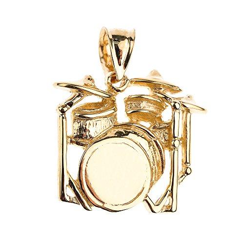 Collier Pendentif 14 ct Or Jaune Tambour Musique (Livré avec une 45cm Chaîne)