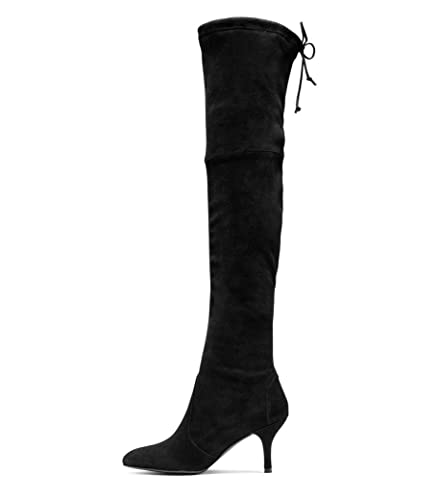 921600ce767 Kmeioo Long Thigh Boots, Women's Stiletto Mid Heels Over The Knee Boots  Pointed Toe Lace Up Stretchy Thigh High Boots