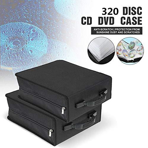 Blue Stones New Portable 320 Capacity CD DVD Media Storage Holder Carry Bag Case Durable Black