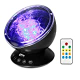 Semlos Remote Control Ocean Wave Projector Night Light with Built-in TF Card Slot Music Player and Timing Close Function for Kid's Bedroom Bathroom Living Room Black