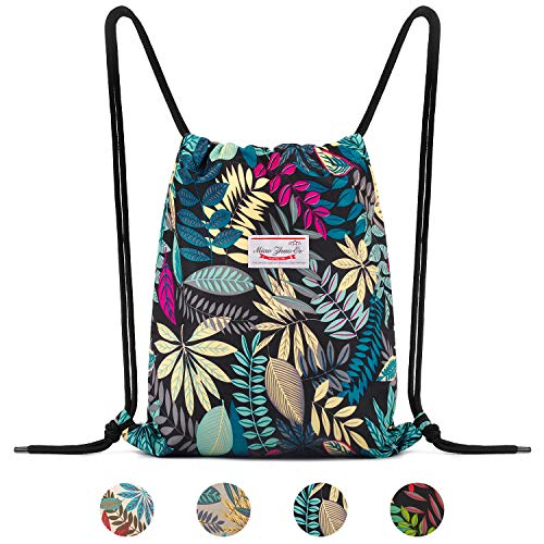 WANDF Drawstring Backpack String Bag Sackpack Cinch Water Resistant Nylon for Gym Shopping Sport Yoga (Blue Leaf 6035)]()