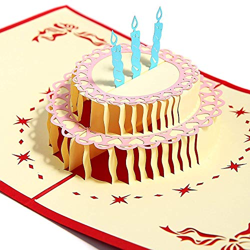 Aukuzi Happy Birthday Cake Card, 3D Pop Up Greeting Card Blessing card for Birthday Party Valentine's Day Father's Day Mother's Day Kids Family Friends (Blue) - Card Birthday Japanese