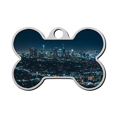HAOPENGYOU Custom Humor Funny Pet ID Name Tag City night scene Personalized Front and Back Bone Shape Dog Tags & Cat ()