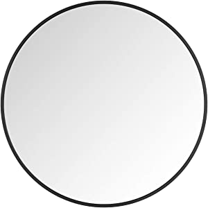 Itrue 20 Inches Round Wall Mirror, Brushed Aluminium Frame Bathroom Circle Mirror for Entryway, Washroom, Living Room and More, Black