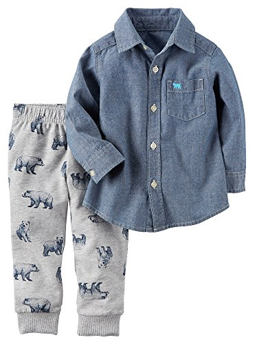Carter's Boys' 2T-4T 2 Piece Long Sleeve Top and Pants Set Denim 3T