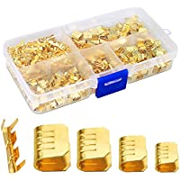SNOWINSPRING 500 Pcs U Shape Copper Ring Terminals Crimp Kit - Non-Insulated Assortment Cable Wire Spade Electric Butt…