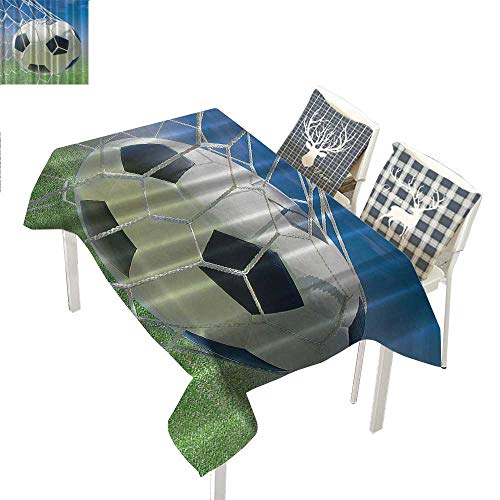 WilliamsDecor Sports Dinning Tabletop Decoration Soccer Goal Net Football Games Photo Design Field Grass Sky Ball for Teens and KidsBlack White Blue Green Rectangle Tablecloth W60 xL120 -