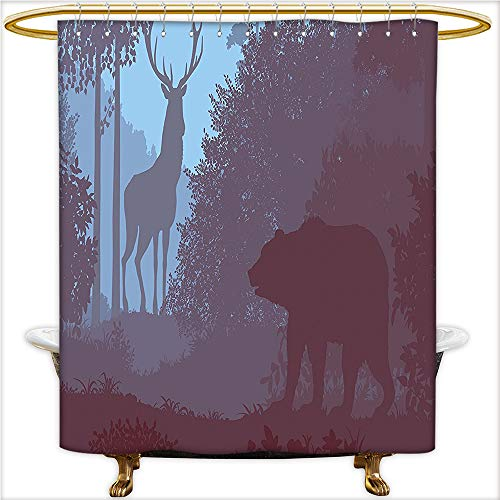 Qinyan-Home Shower Curtain Sets Grizzly Bear and Antler Mysterious Woods Smoky Jungle Fauna Landscape for Sky Blue Dried Rose. Soft Touch Waterproof Thick Polyester.W72 x H84 Inch