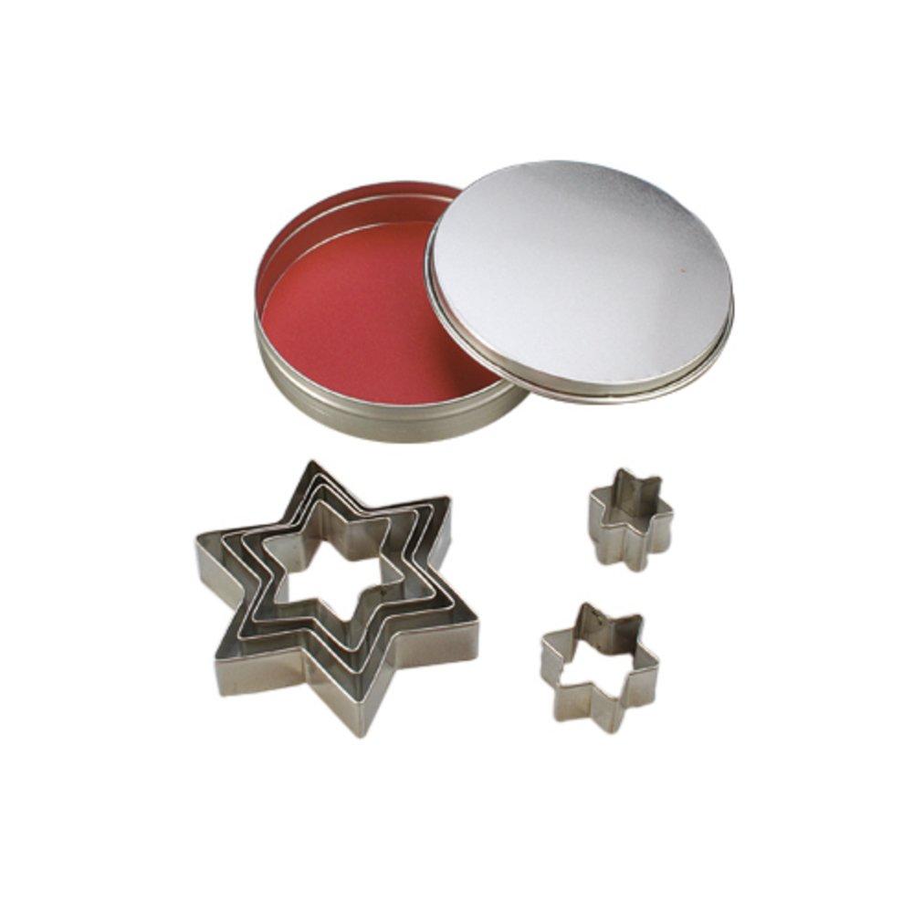efco-Stampini per biscotti a forma di stella, in metallo, colore argento, 10/2, 5-8 cm, confezione da 7 3537010
