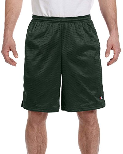 (Champion 3.7 oz. Mesh Short with Pockets, XL, ATHLETIC DARK GREEN)