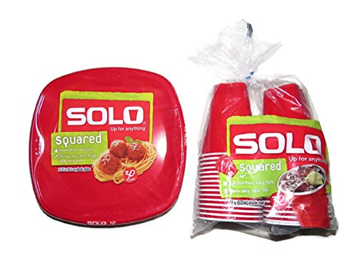 SOLO Plastic Plate & Cup Bundle, Red Plastic Dinner Plates (30 ct) and Red Plastic Cups (30 ct) (18 oz)
