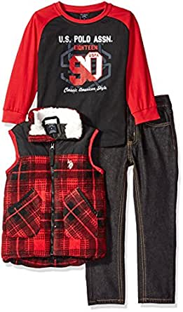 U.S. Polo Assn. Boys' Little Boys' Polar Fleece and Taslon Vest, Long Sleeve T-Shirt and Denim Jean, Red, 4