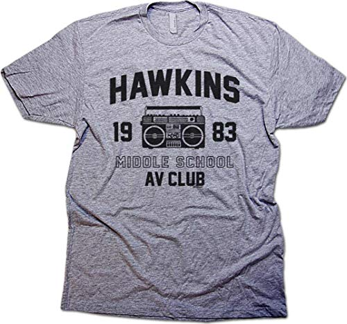Daft Threads ~ Hawkins Middle School A.V. Club Stranger T-Shirt & Things Sticker Men's Heather Grey (Large) ()
