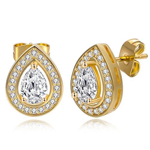 OPALBEST Fashion Jewelry 18K Gold Plated Teardrop Classic Cubic Zirconia Halo Stud Earrings for Women