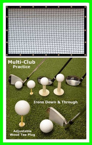 Golf Mat Golf Net Combo 9' x 10' High Velocity Impact Panel Plus a 4' x 5' Multi-Club Golf Mat; Free Ball Tray/Balls/Tees/60 Min. Full Swing Training DVD/Impact Decals and Correction Guide With Every Order! Everything You Need In One Package by Dura-Pro by Dura-Pro Multi-Club Golf Mat 9x10 Net Combo