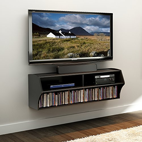 "Prepac Altus Wall Mounted Audio/Video Console, 48.5""W x 16.75""H x 16""D, Black"