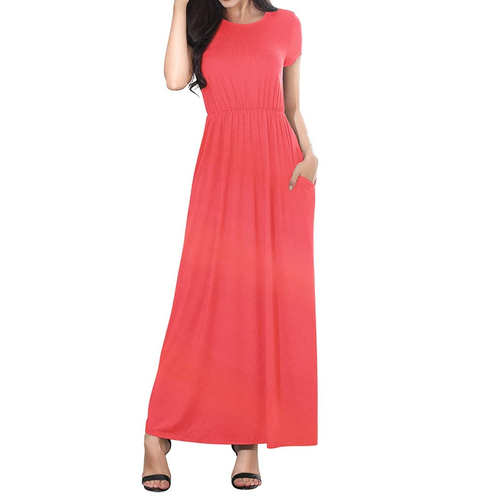 〓COOlCCI〓Women's Short Sleeve Loose Plain Maxi Dresses Casual Long Dresses with Pockets Hot Pink