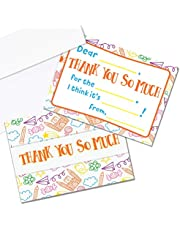 Kids Thank You Cards, 25 Fill in the Blank Thank You Cards for Kids, Children, Toddlers, Boys & Girls - Thank You Notes with Envelopes, Made in the USA